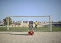 A loudspeaker stands propped behind the goalposts at a football match in Mogadishu, Somalia, between the Somali Police Force and the Somali National Army on January 31. AU UN IST PHOTO / Tobin Jones
