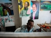 At the Centre for Research and Dialogue (CRD) art studio in the Wadajir District, Mogadishu. A group of artists are quietly and attentively concentrating on painting and sketching their latest creations. Part of the group's work is to create large billboard murals that are displayed around the city as part of a project designed to mobilise and educate people through art.