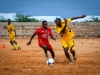 Players of Elman FC train in The Baanadir Stadium in the Abd-Aziz District of the Somali capital Mogadishu,