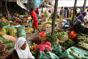 Women at a marketplace in Mogadishu, Somalia, ready their produce for sale during the hoy month of Ramadan on July 11  ILYAS A. ABUKAR