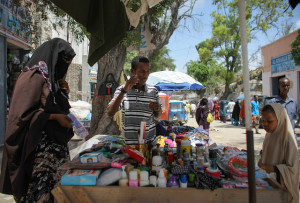A woman and young girl buy products at a roadside stall in Hamar Weyne market in the Somali capital Mogadishu.